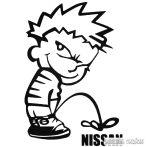Calvin pisil Nissan - Szélvédő matrica