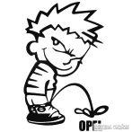 Calvin pisil Opel - Szélvédő matrica