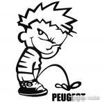 Calvin pisil Peugeot - Szélvédő matrica