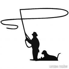 Horgász kutyával matrica