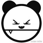 Ideges panda kilógó foggal matrica
