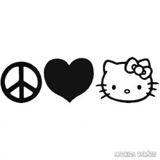 Peace love Hello Kitty matrica