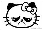 Csúnya arcú Hello Kitty matrica